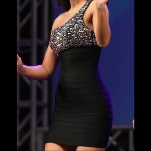 Tony Bowls Black Silver Cocktail Dress